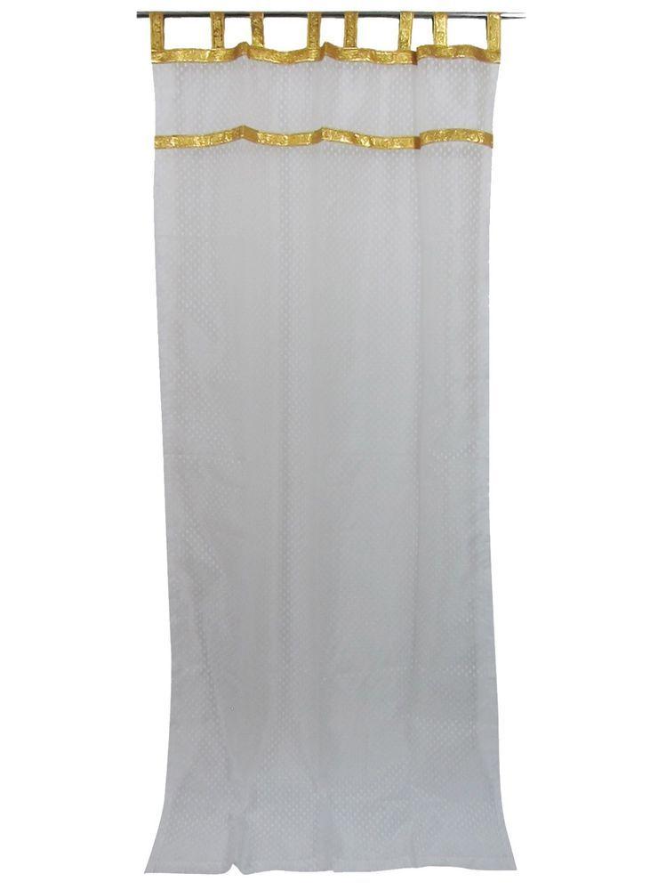 Details About Mogul 2 Indian Sari Curtains Maroon Sheer Gold