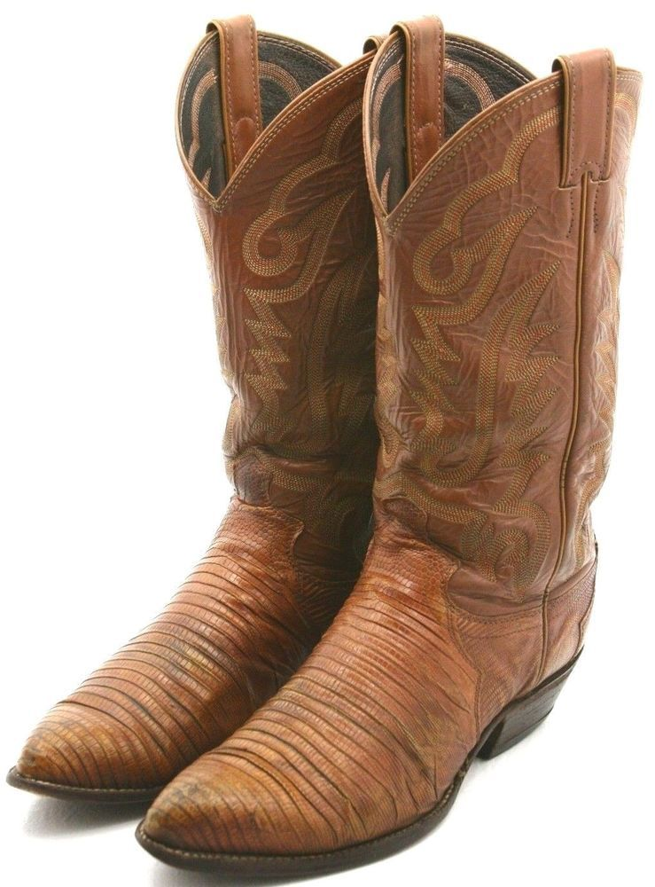 fc2660ed1ae Justin Mens Cowboy Boots Size 8 D Brown Leather Teju Lizard Western ...