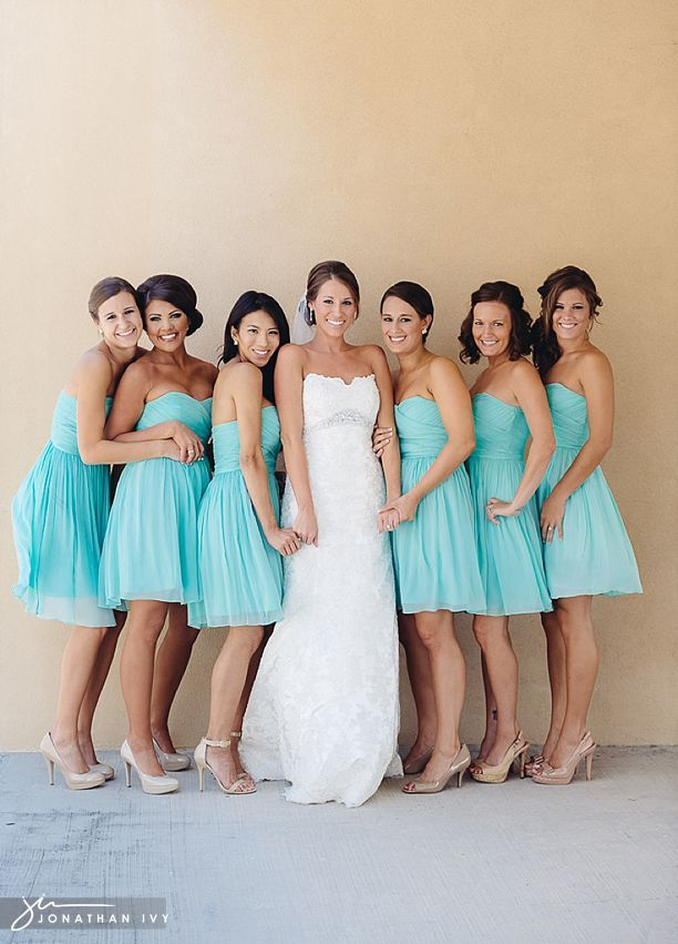 Coral and Turquoise Blue Bridesmaid Dresses