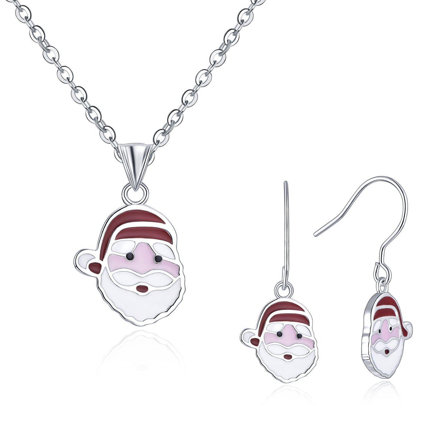 Yh jewelry ladies sterling silver enamel santa claus drop earrings