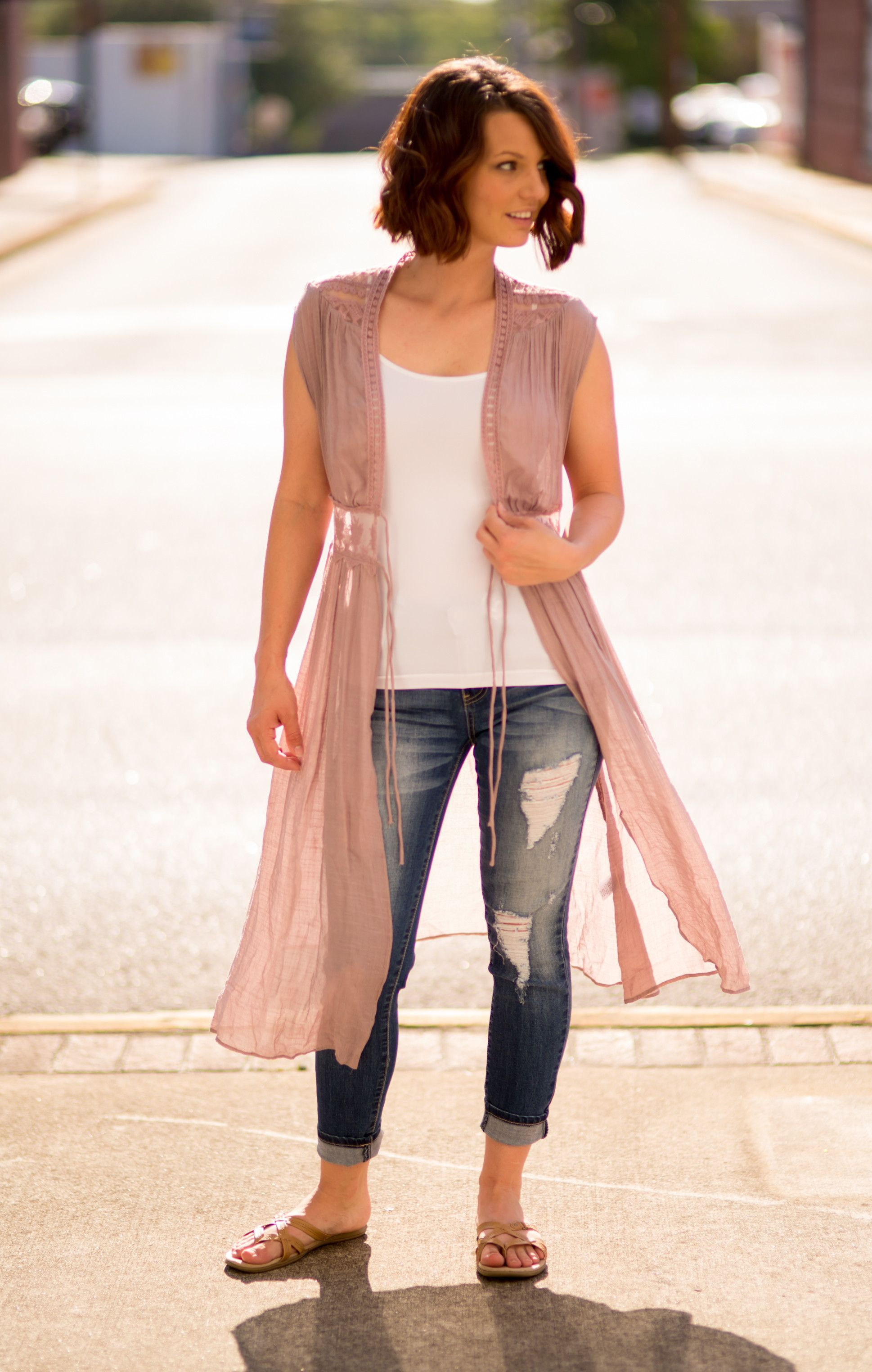 Blush Knit Sleeveless Kimono Cardigan | Products