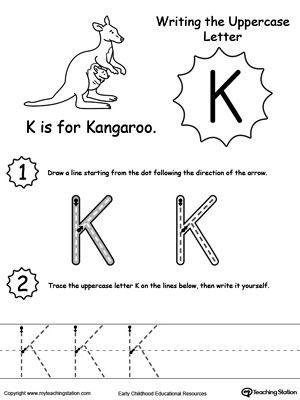 writing uppercase letter k writing letters words tracing letter k kindergarten writing. Black Bedroom Furniture Sets. Home Design Ideas