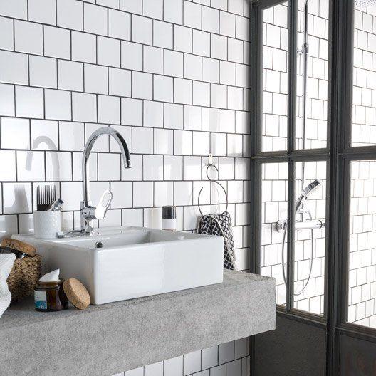 LeroyMerlin  24,96\u20ac/m² TTC  faience blanche 10*10 Salle de bain