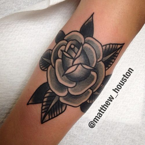 Black and grey traditional rose tattoo design ideas for for Traditional black and grey tattoo