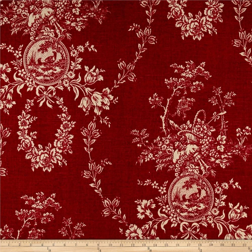 Waverly Country House Toile Red Linen French Country Fabric Red Toile Toile Fabric