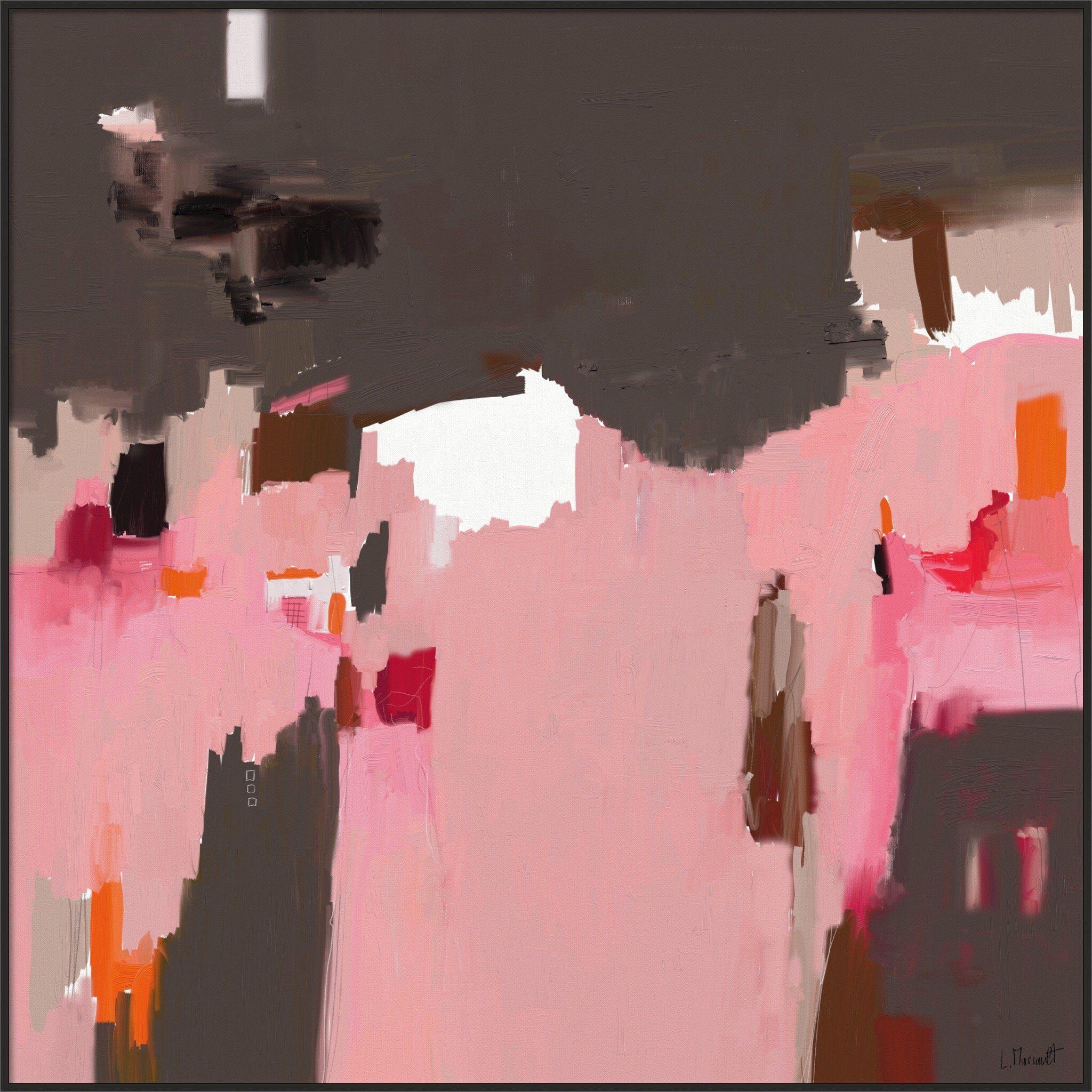 Ma muse 711 grand tableau abstrait carr rose marron for Art moderne abstrait