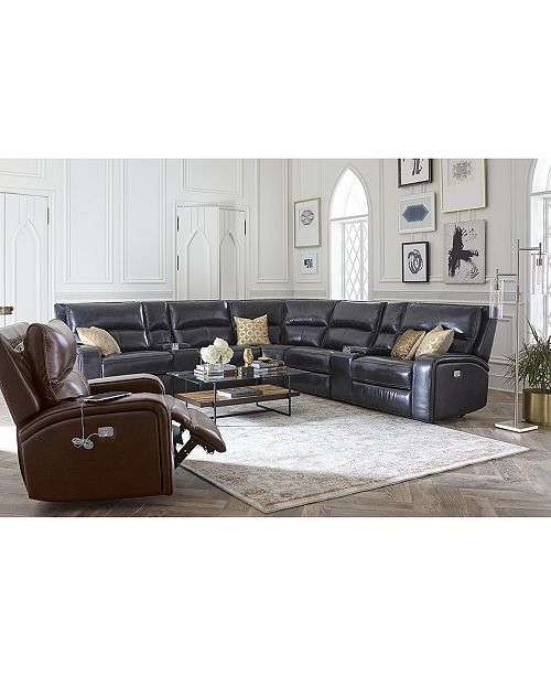 Fabulous Brant 7 Pc Leather Sectional Sofa With 3 Power Recliners Bralicious Painted Fabric Chair Ideas Braliciousco