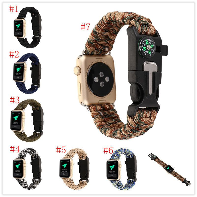 Lanyard Flint Compass Whistle Watch Band Strap Bracelet For Apple Unadjustable