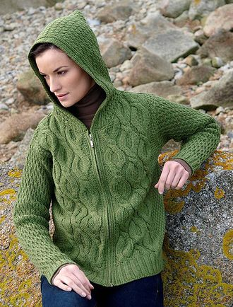 e4c01268d3e2 Cable Knit Hoodie with Celtic Knot Zipper Pull