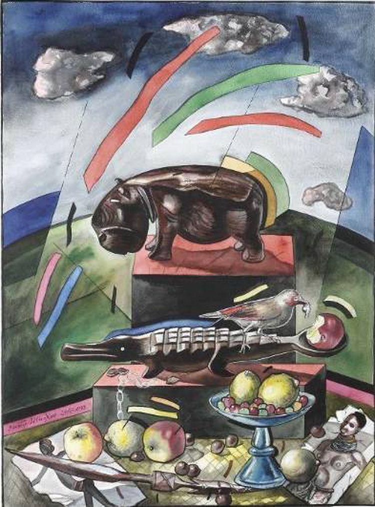 "Victor Shmokhin. ""Последние лучи солнца""  1988г. Бумага,акварель,тушь. 75,8х56,3  (№1.753)."