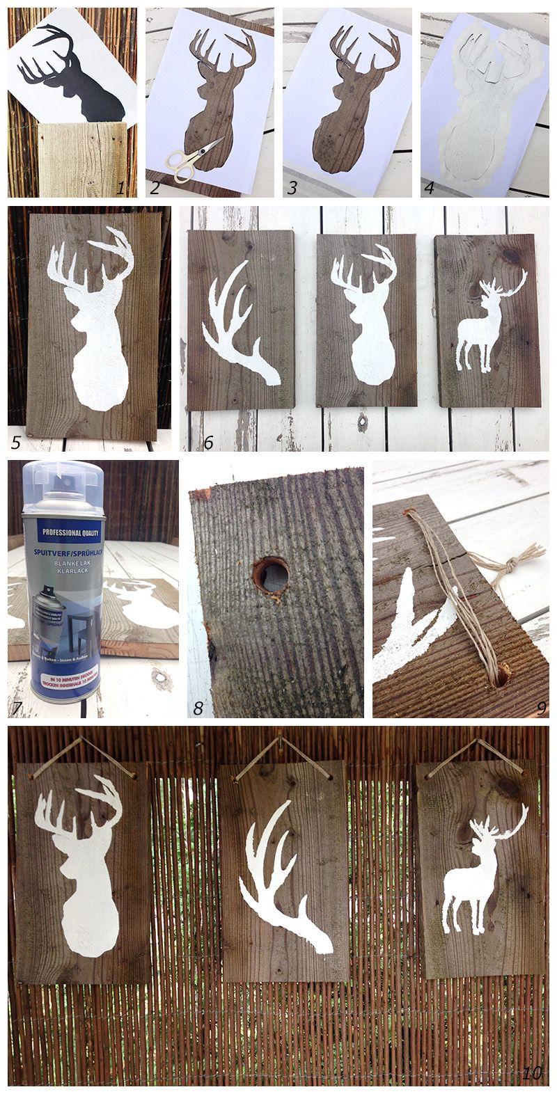 DIY Home And Garden; Deer On Wood (googletranslator On Website)
