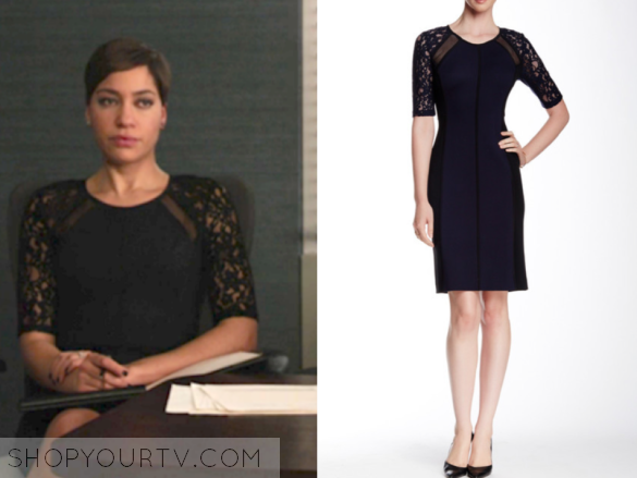 409f09b790 Lucca Quinn (Cush Jumbo) wears this navy and black lace sleeve dress in  this episode of The Good Fight. It is by Rebecca [...]