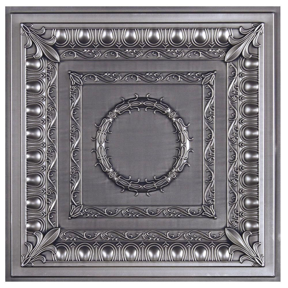 Royal 2 ft x 2 ft lay in or glue up ceiling tile in antique nickel regal ceiling tile antique nickel is a waterproof ceiling tile made from dense polyvinyl and built to last great for basements kitchens bathrooms and dailygadgetfo Gallery