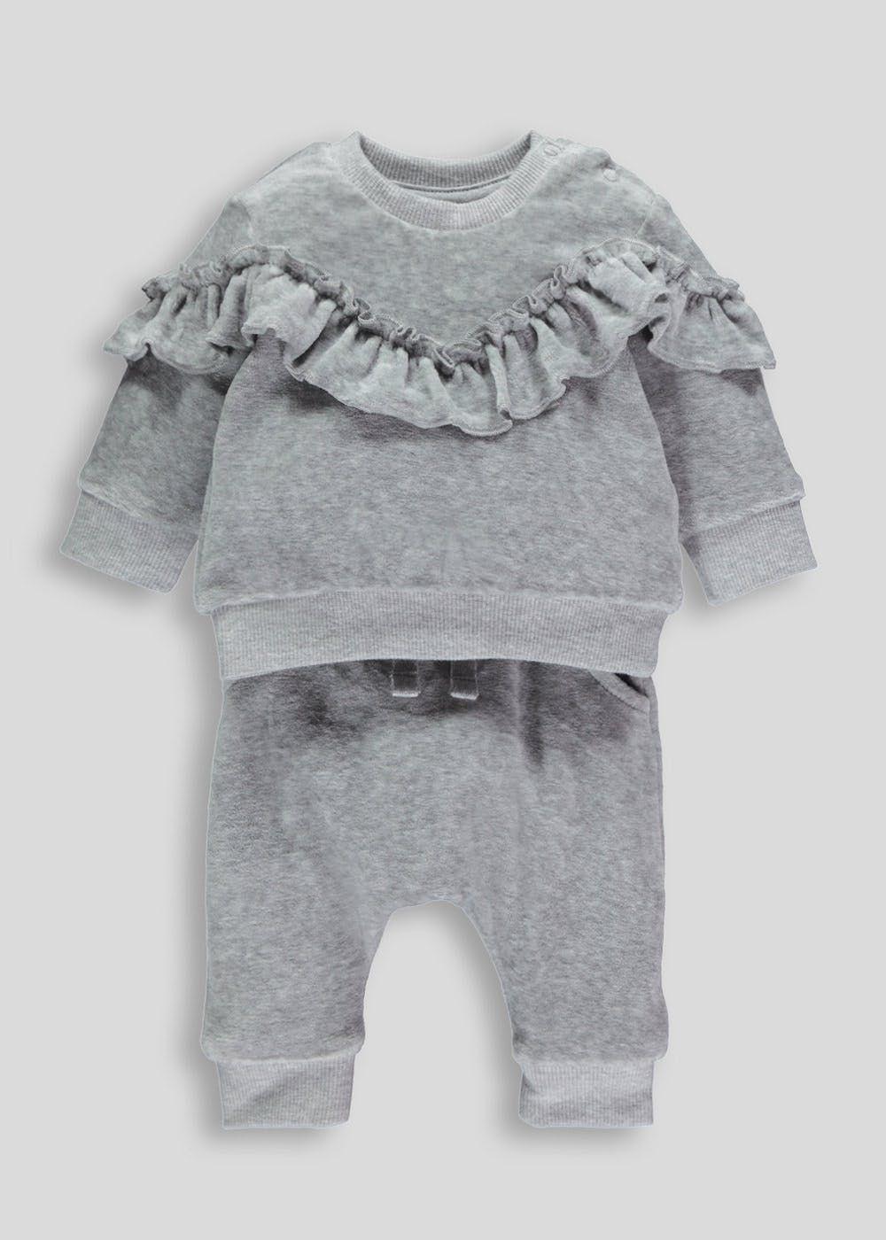 Girls velour frill piece set tiny babymths babies