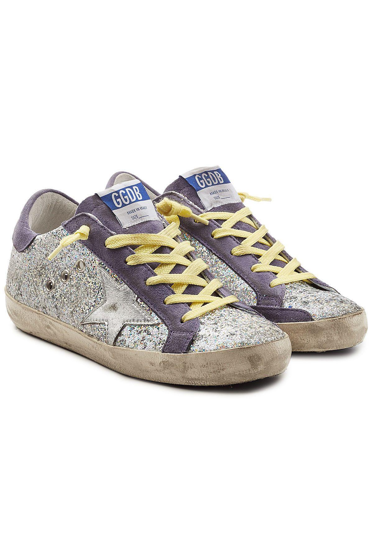 Golden Goose Super Star Glitter Sneakers With Suede In Purple Modesens Glitter Sneakers Golden Goose Sneakers Sneakers