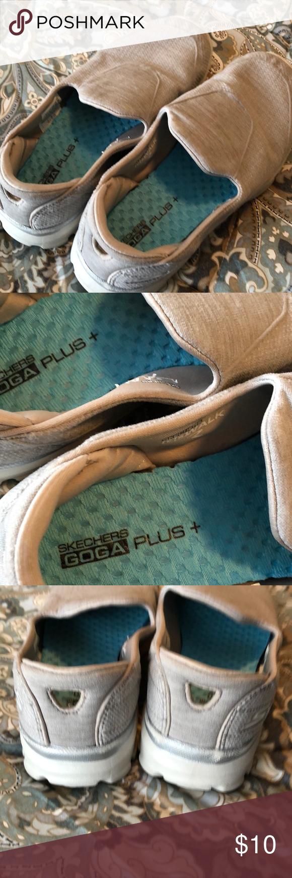 f3485b01de538 Sketchers GOGA Plus. Size 7 tan. Comfy! Super duper comfortable Sketchers.  Size 7. Lightly worn. Kinda of a taupe-ish color. The most comfortable shoe!