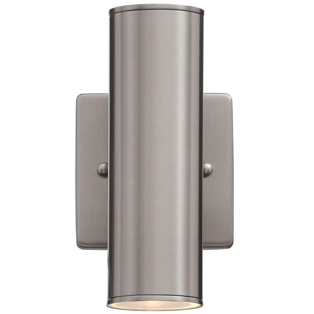 Home decorators collection riga 2 light stainless steel outdoor hampton bay riga 2 light stainless steel outdoor wall mount within measurements 1000 x 1000 outdoor wall sconce lighting fixtures you have probably seen amipublicfo Gallery
