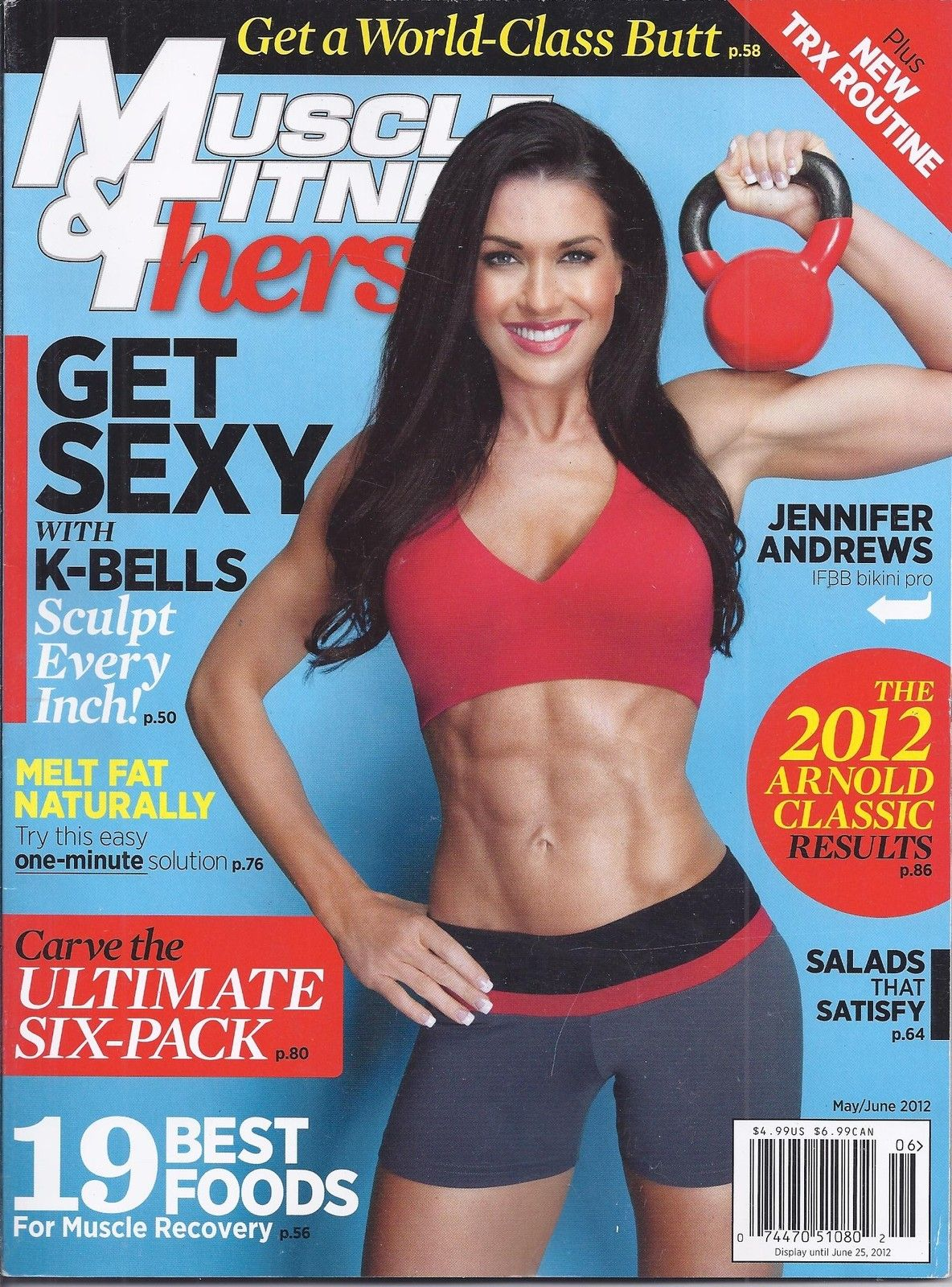 631fa6793bd Muscle and Fitness Hers Magazine Jennifer Andrews Kbells Ultimate ABS Best  Food