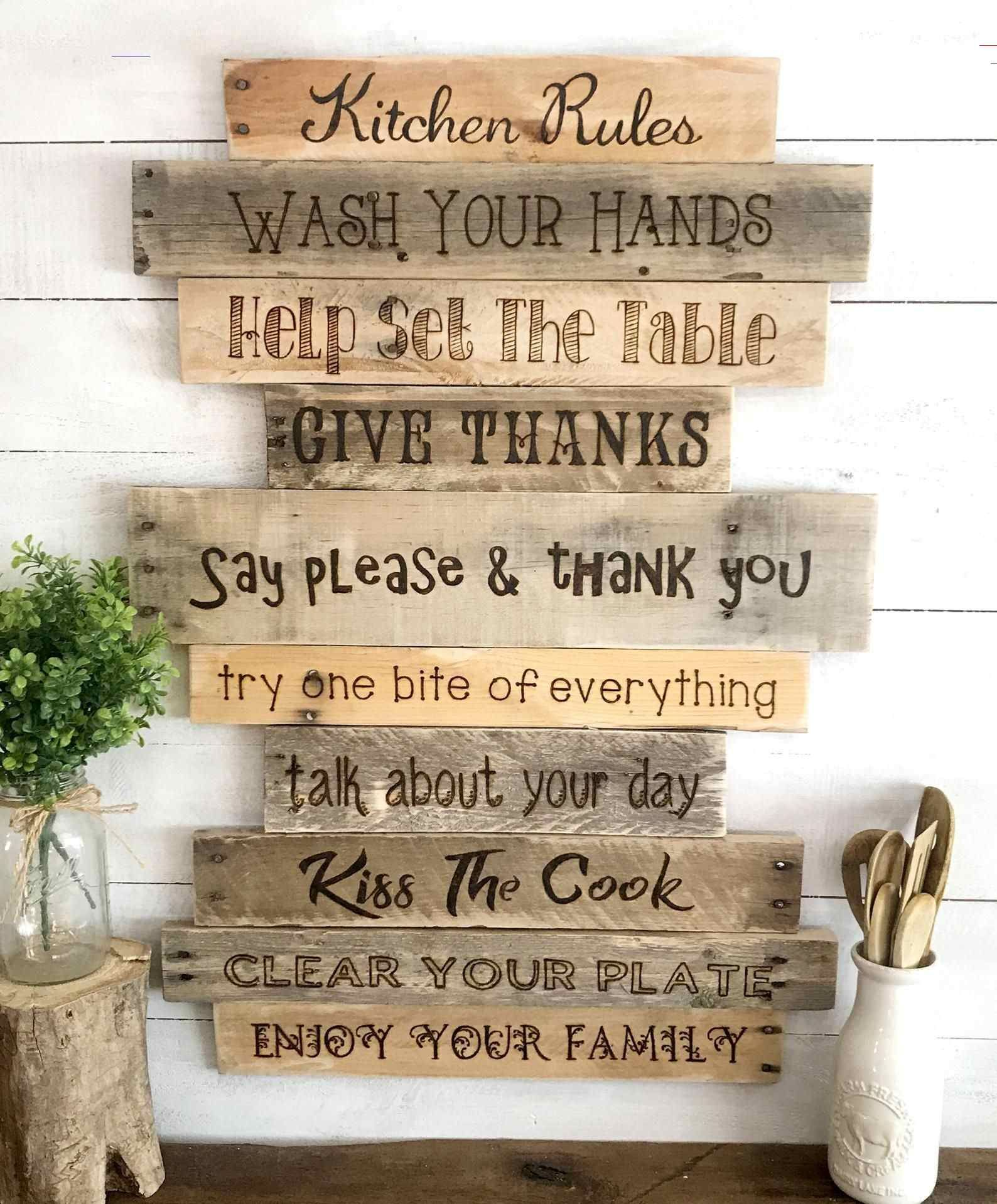 Kitchen Rules Sign Rustic Country Farmhouse Wood Wall Decor Kitchenrules Rustic Kitchen Decor Reclaimed Wood Sign Large Wall Art Farmhouse Country Home Hou In 2020