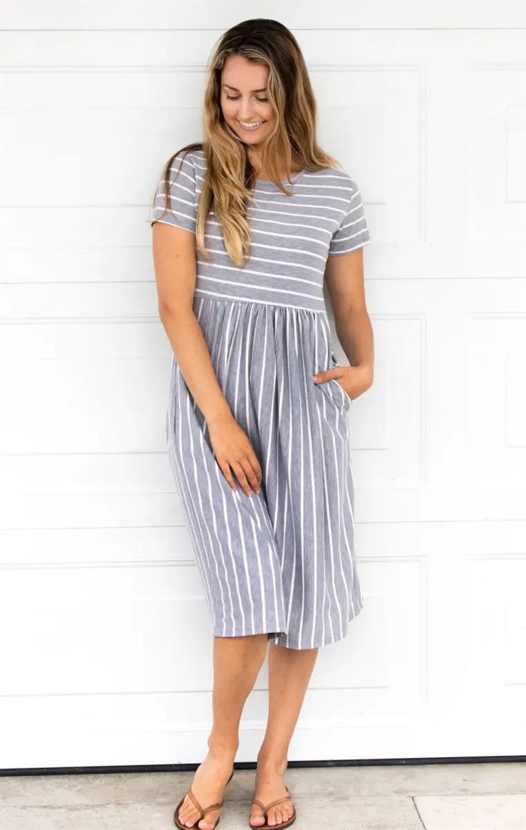 Striped Midi Dress Jane Striped Midi Dress Womens Midi Dresses Midi Dress Casual [ 1200 x 761 Pixel ]