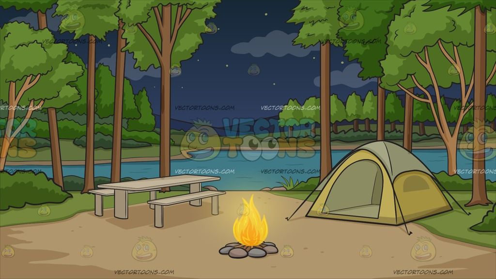 Campground With Tent At Night Background Cartoon Clipart