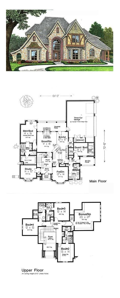 French Country Style House Plan 66271 with 4 Bed, 5 Bath, 3 Car Garage