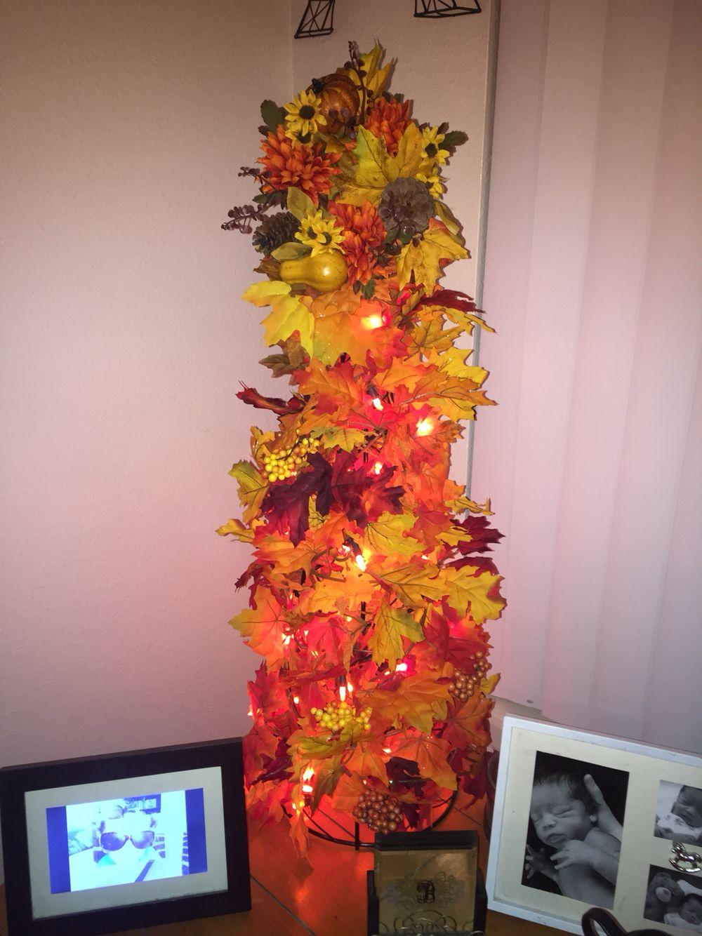 Fall Leaf Tree. Use fall colored lights or Christmas