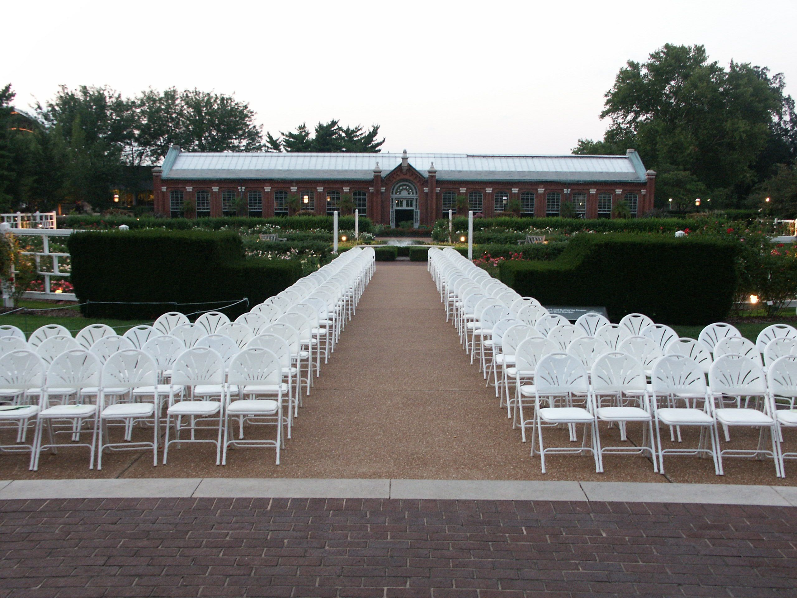 Chair set up for a wedding ceremony at the Gladney Rose Garden at