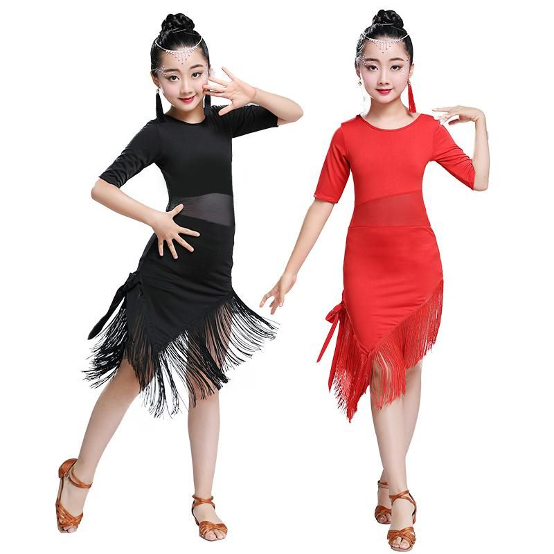 8f455ea994d7 Tassel Latin Dance Dress For Girls Children Salsa Tango Ballroom Dancing  Dress Competition Costumes Kids Practice Dance Clothing.