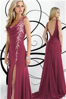Sheath/Column Cowl Court Train Jersey Prom Dress