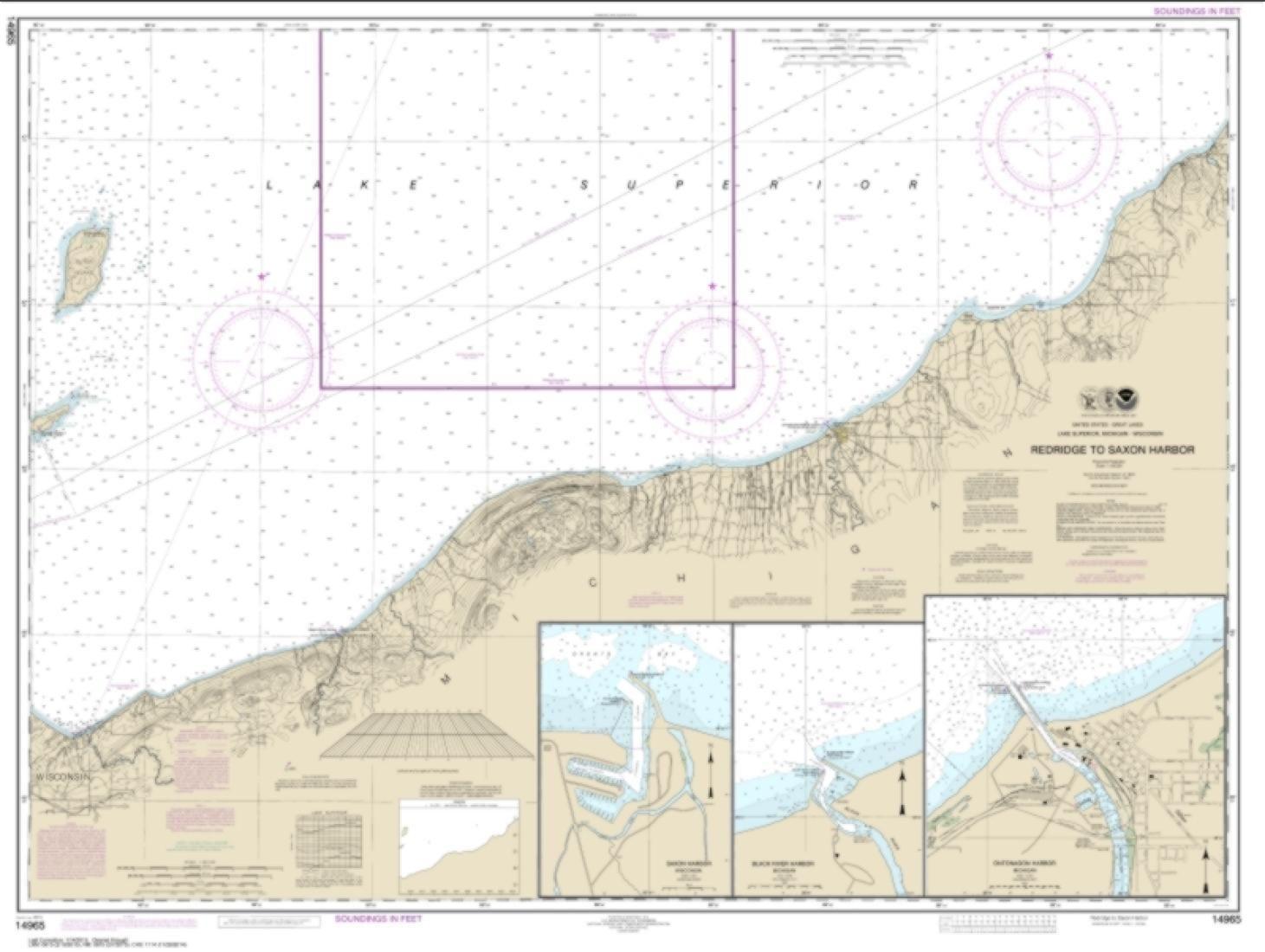 Redridge to Saxon Harbor; Ontonagon harbor; Black River Harbor; Saxon Harbor (14965-23) by NOAA
