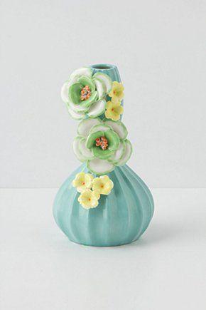 Carved Anemone Vase, Turquoise | Anthropologie.eu