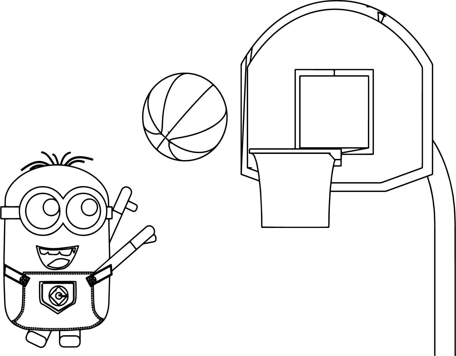 Cool Minion Playing Basketball Coloring Page