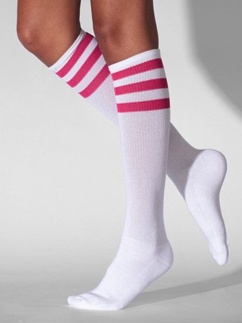 Pink striped tube socks.  Love these.