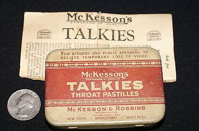 ANTIQUE VINTAGE TIN: MCKESSON'S TALKIES THROAT FOR SINGERS / SPEAKERS MEDICINE
