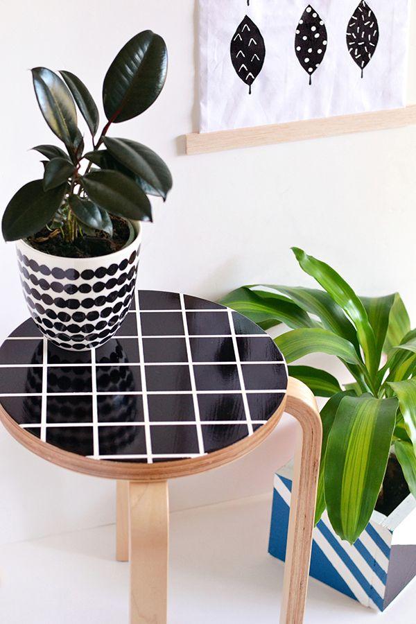 Grid stool makeover diy do it yourself r cup deco et faire soi meme - Salon des travaux manuels ...