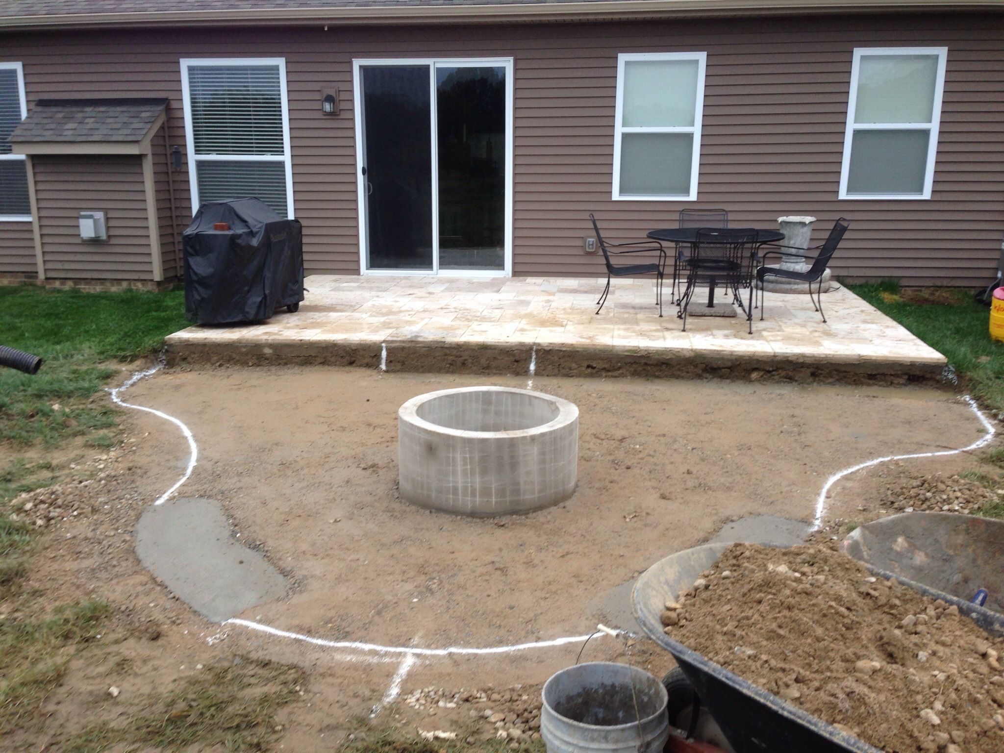 adding a firepit next to back slab google search landscaping