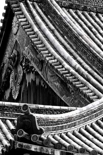 Detail of the roof of the Main Hall, Ni-no-maru, Nijo Castle, Kyoto, Japan