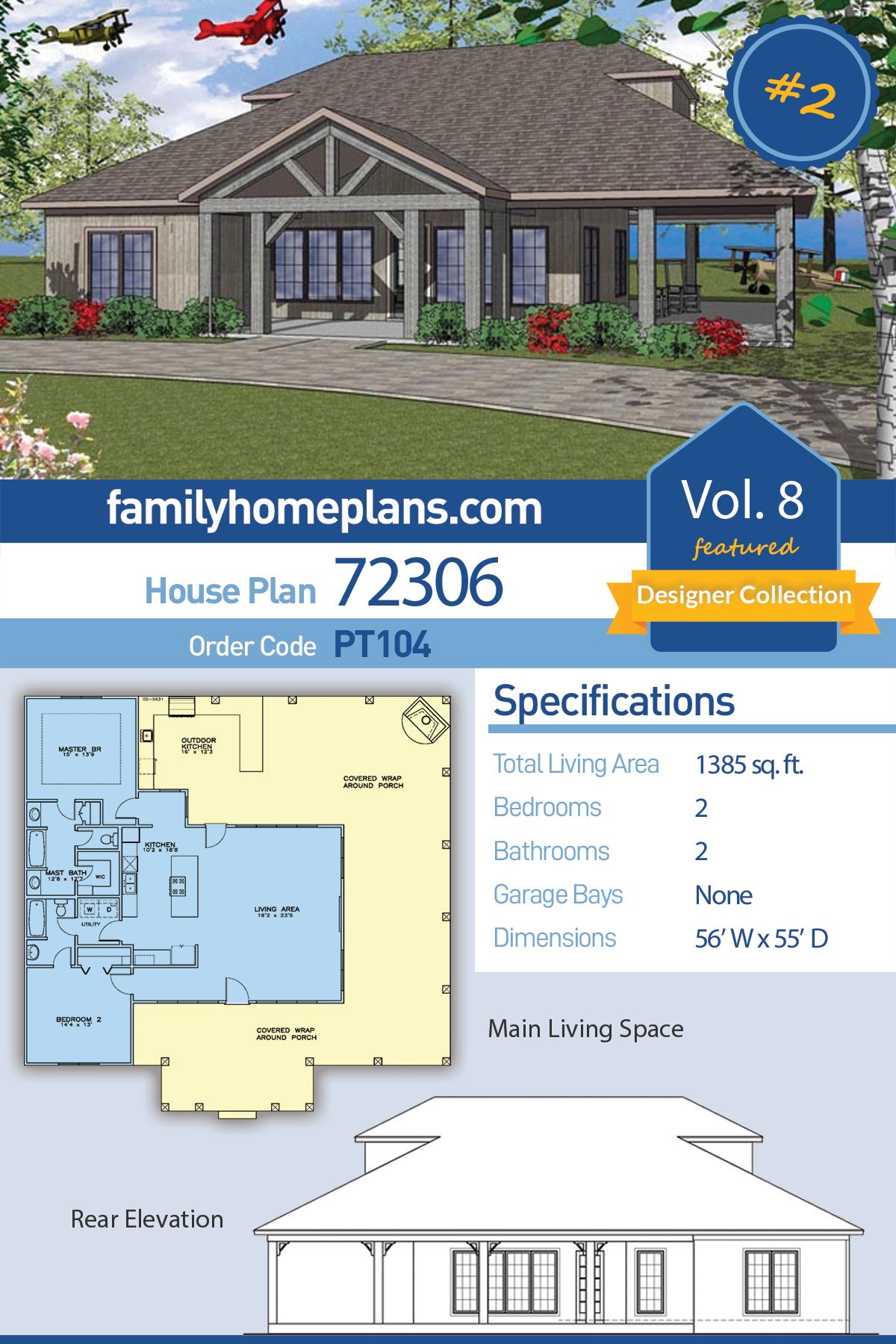 Fantastic small house plan with wrap around porch and