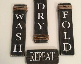 "Photo of Rustic Set of 4 White Wooden Laundry Room Signs ""Wash Dry Fold Repeat"""