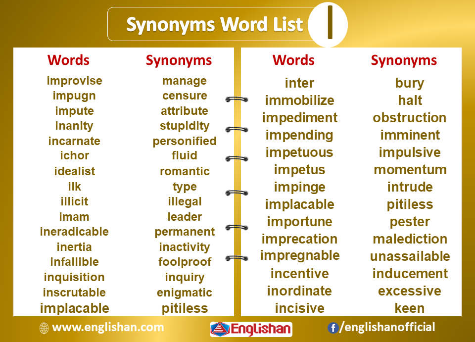 Synonyms List A To Z With Examples And Pdf Englishan Synonym Synonyms And Antonyms Word List