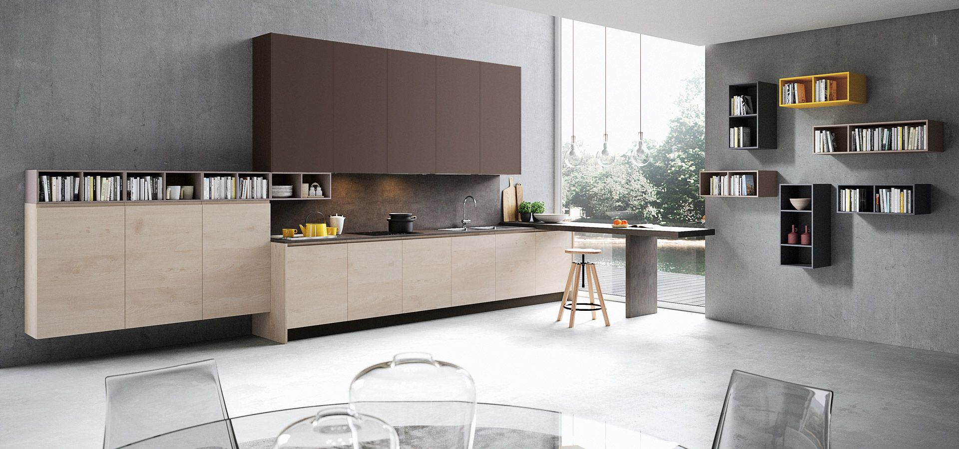 Cucina Moderna - Wega Finitura laccato ecrù opaco | Piano in Okite ...