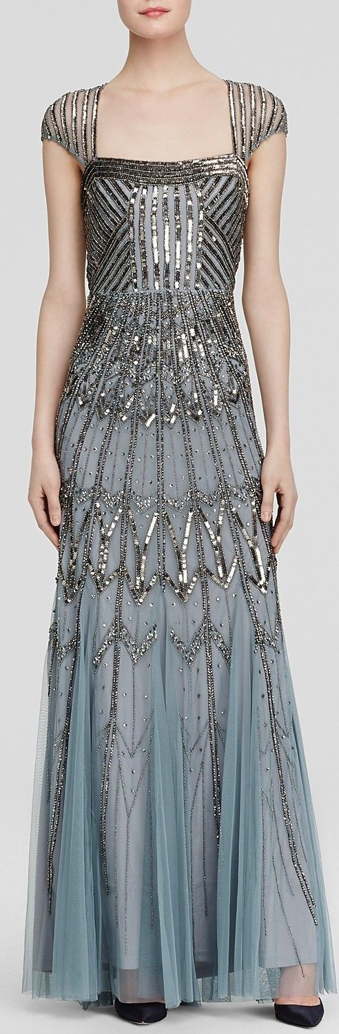 Love the Art Deco inspiration of this  Adrianna Papell Gown - Square Neck Cap Sleeve Open Back Beaded - the ombre effect at the bottom is a lovely touch. The overall detail to the sequins and beads is phenomenal.