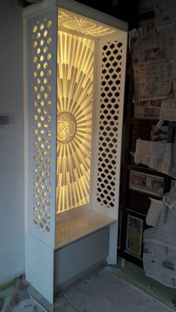 Om Design In Corian Corian Temple In 2019 Pooja Room
