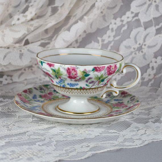 Vintage Yada Floral Teacup and Saucer Vintage Tea Cup Set