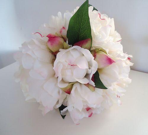 Bouquet Pivoine Qualite Fleur Artificielle Mariage En Satin Blanc