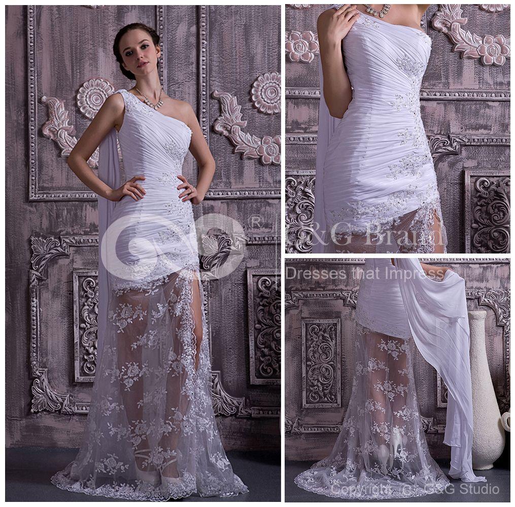 One Shoulder Floor-length Sleeveless White Elegant/Glamorous/Modern Prom Dress $149