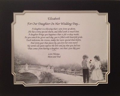 FOR MY DAUGHTER ON HER WEDDING DAY PERSONALIZED POEM GIFT FROM MOM And DAD Matte