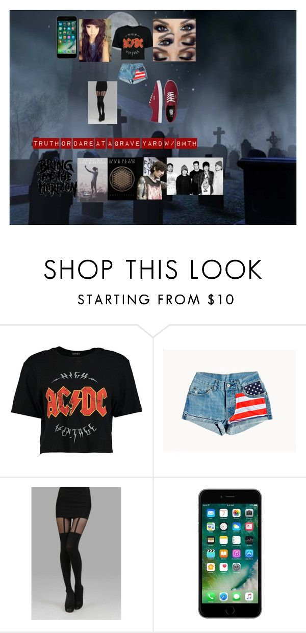 """Truth or Dare at a grave Yard with Bring me the Horizon !!"" by ronnieradkeismybae ❤ liked on Polyvore featuring Boohoo and Vans"