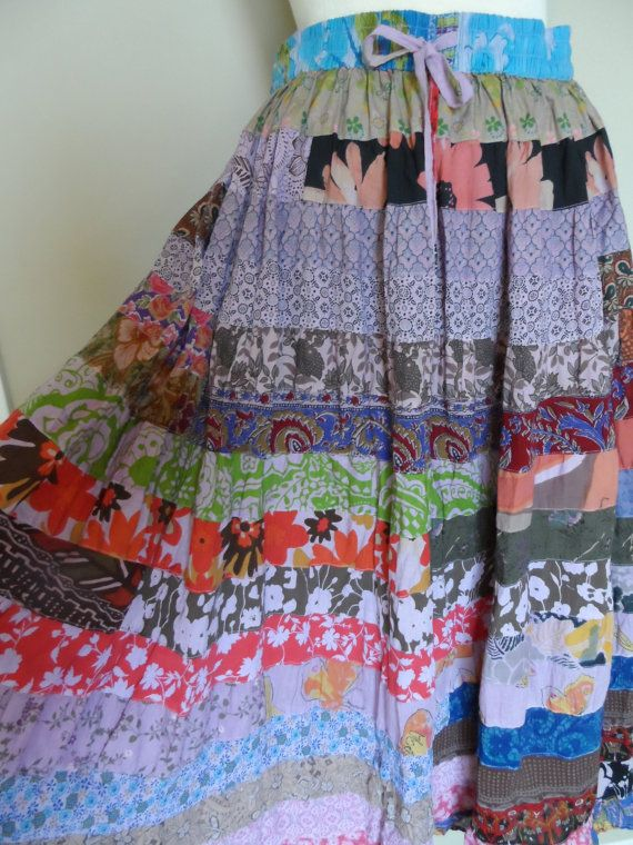 """Vintage Gypsy Skirt / Very Colorful with Horizontal Patchwork Fabrics /""""Made From The Earth, Wear In Peace"""" / on Etsy, $23.30 AUD"""